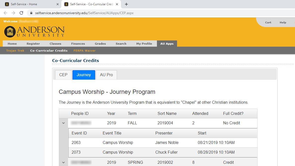 My CEP/Journey Credits